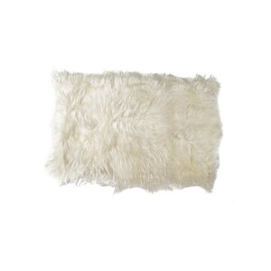 Curlew Hand-Woven Sheepskin White Area Rug