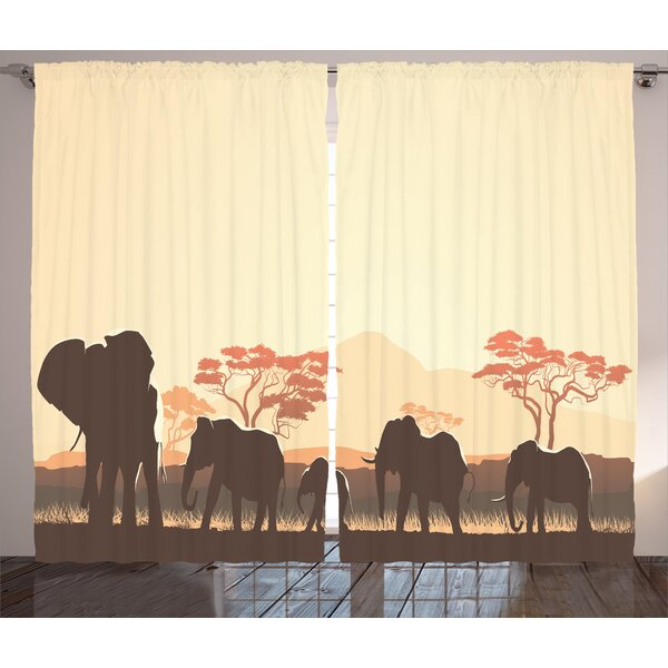 Schifflange Graphic Print and Text Semi-Sheer Rod Pocket Curtain Panels (Set of 2) by World Menagerie