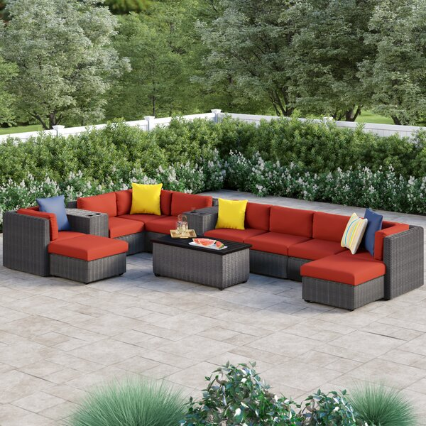 Fairfield 13 Piece Rattan Sectional Seating Group with Cushions by Sol 72 Outdoor
