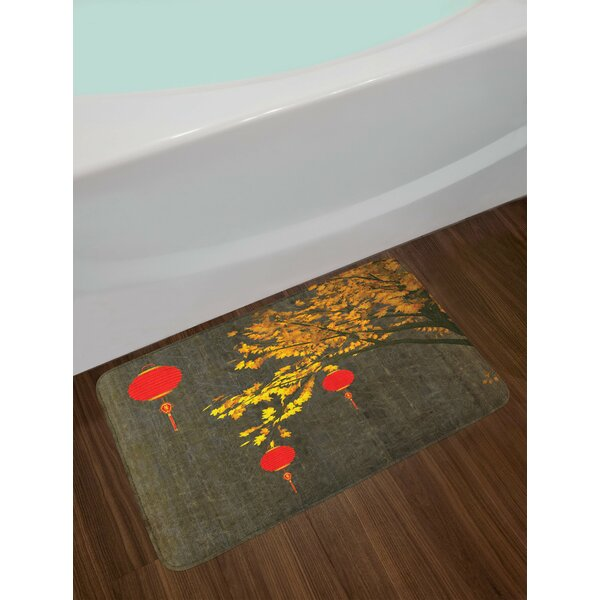 Lantern Fall Tree Dramatic Shaded Inspired Seasonal Design Non-Slip Plush Bath Rug by East Urban Home
