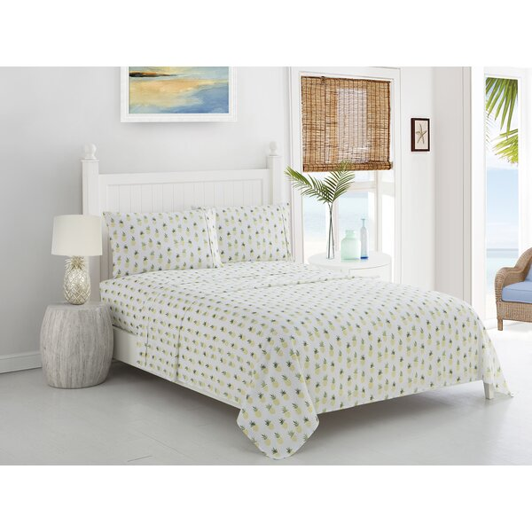 Pineapple Printed Microfiber Sheet Set by Caribbean Joe