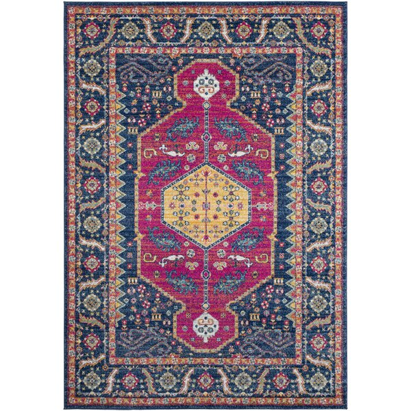 Arteaga Distressed Dark Blue/Garnet Area Rug by Bungalow Rose