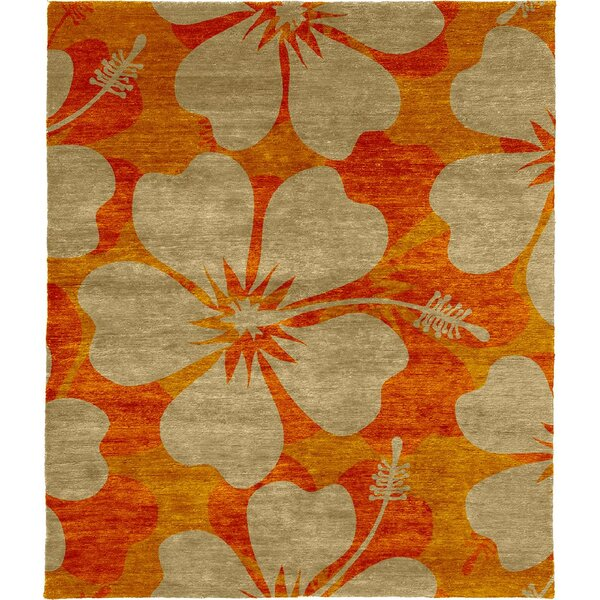 One-of-a-Kind Regine Hand-Knotted Tibetan Orange/Beige 8' Square Wool Area Rug