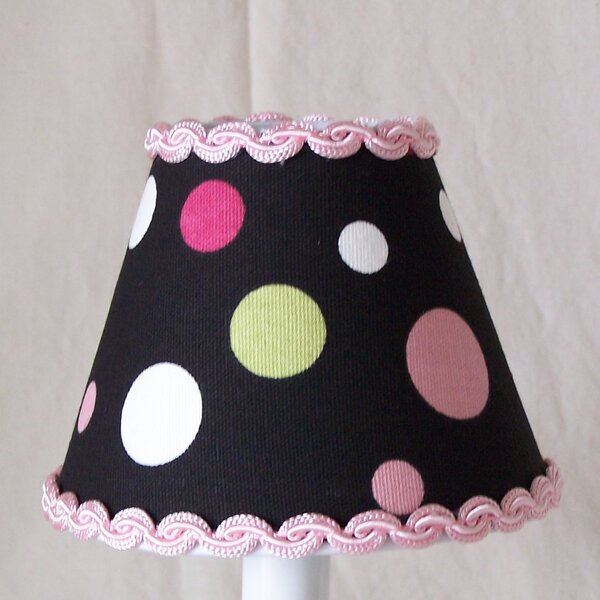 Sweet Pea Polka Dot 7 H Fabric Empire Lamp Shade ( Screw On ) in Pink/Black