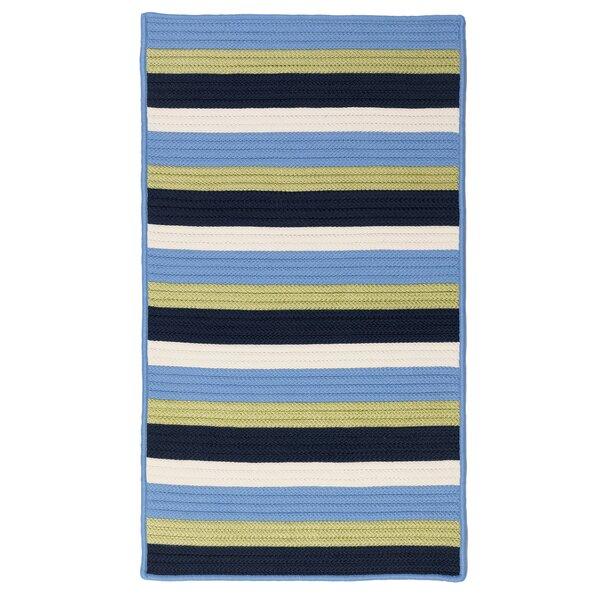 Wilkesboro Striped Braided Light Blue/Green/Navy/Beige Indoor / Outdoor Area Rug