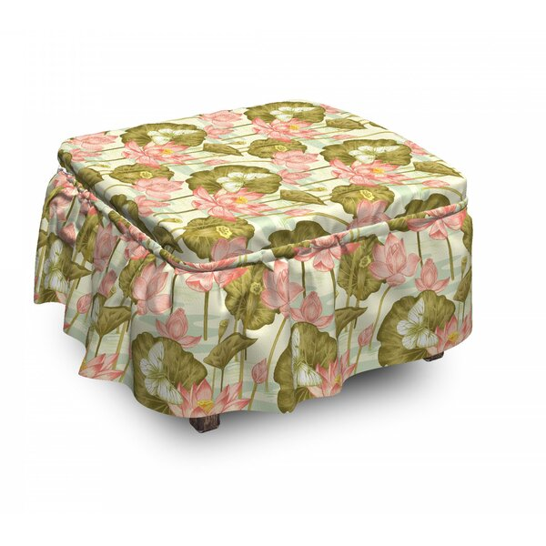 Asian Exotic Foliage Butterfly 2 Piece Box Cushion Ottoman Slipcover Set By East Urban Home