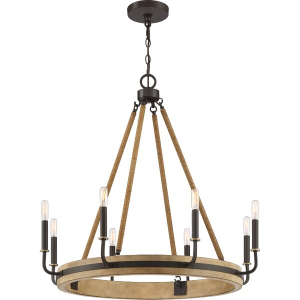 Stonington 8 - Light Candle Style Wagon Wheel Chandelier by Foundry Select Foundry Select
