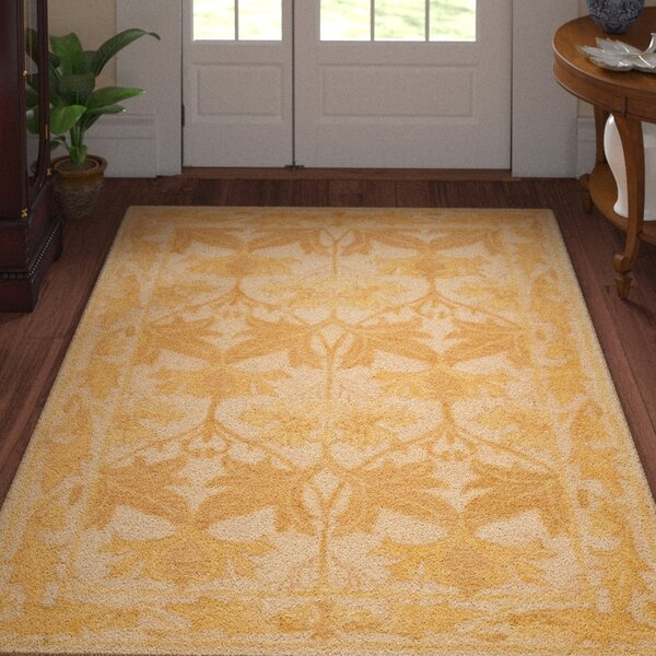 Ashville  Hand-Tufted Beige / Gold Area Rug by Three Posts