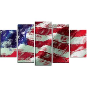 'USA Flag Abstract Art Map and Flag' 5 Piece Wall Art on Wrapped Canvas Set by Design Art