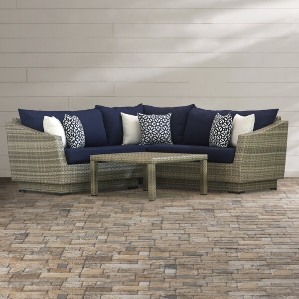 Castelli 4 Piece Rattan Sectional Seating Group with Sunbrella  Cushions by Wade Logan