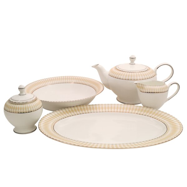 Superior Bone China Traditional Serving 5 Piece Dinnerware Set by Shinepukur Ceramics USA, Inc.