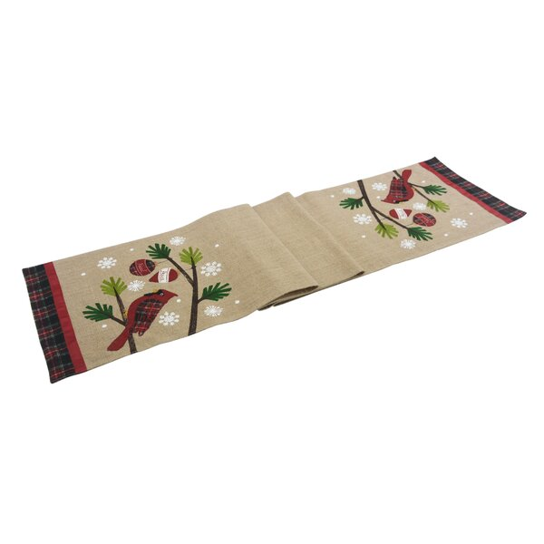 Augie Cardinal Noel Peace Jute Christmas Table Runner by The Holiday Aisle