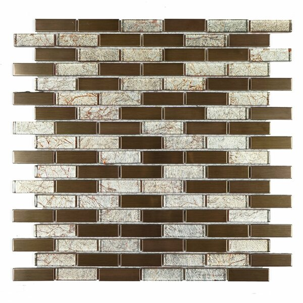0.63 x 1.87 Mixed Material Mosaic Tile in Copper/Gold by Multile