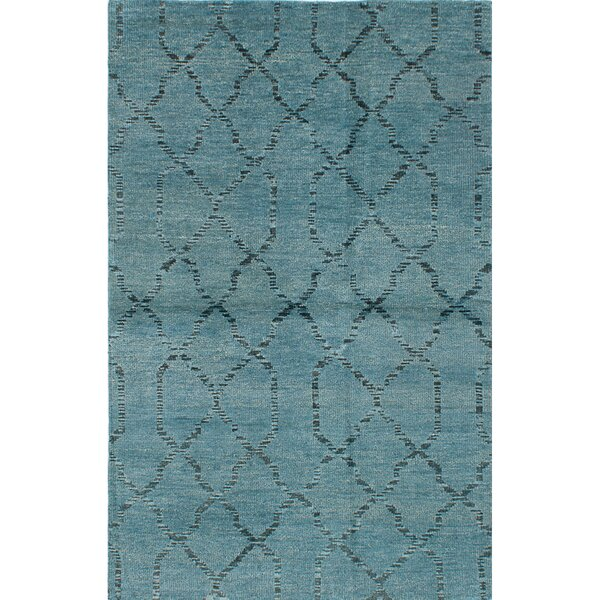One-of-a-Kind Brewster Hand-Knotted Turquoise/Black Area Rug by Bungalow Rose