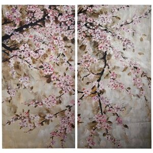 'Cherry Blossom' 2 Piece Painting Print Set on Canvas by Ophelia & Co.