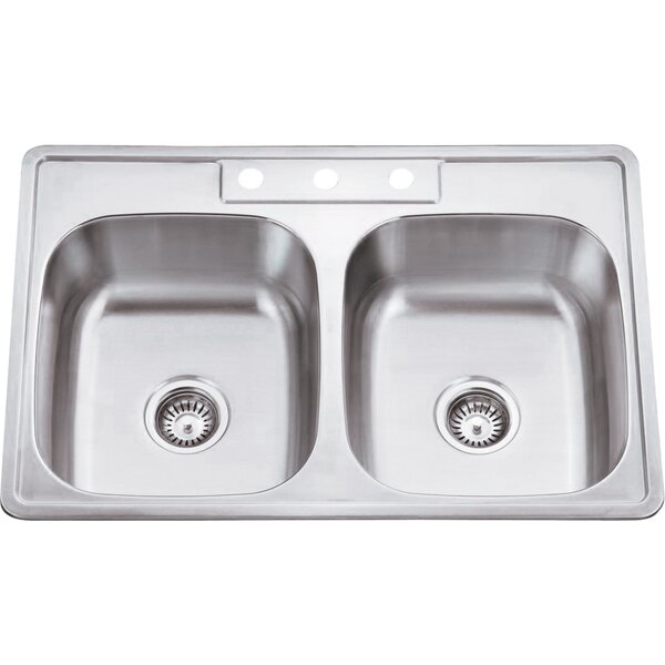 33 L x 22 W Double Bowl 20 Gauge Stainless Steel Drop In Kitchen Sink by Hardware Resources