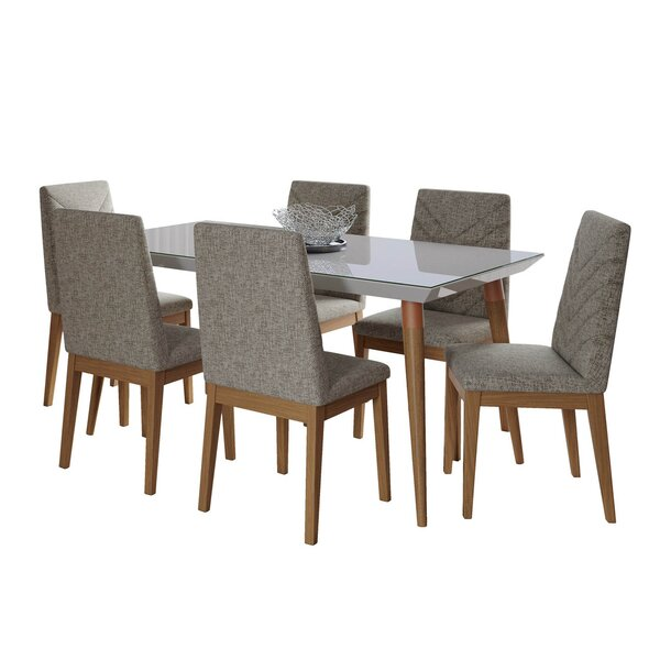 Lemington 7-Piece 62.99 Dining Set with 6 Dining Chairs in White Gloss and Beige by George Oliver