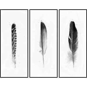 'Feathers' 3 Piece Framed Graphic Art Set by Mistana