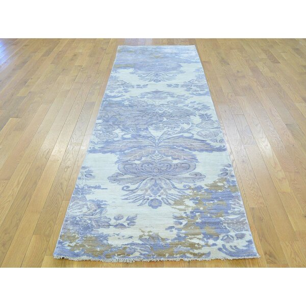 One-of-a-Kind Bean Damask Handwoven Ivory Wool/Silk Area Rug by Isabelline