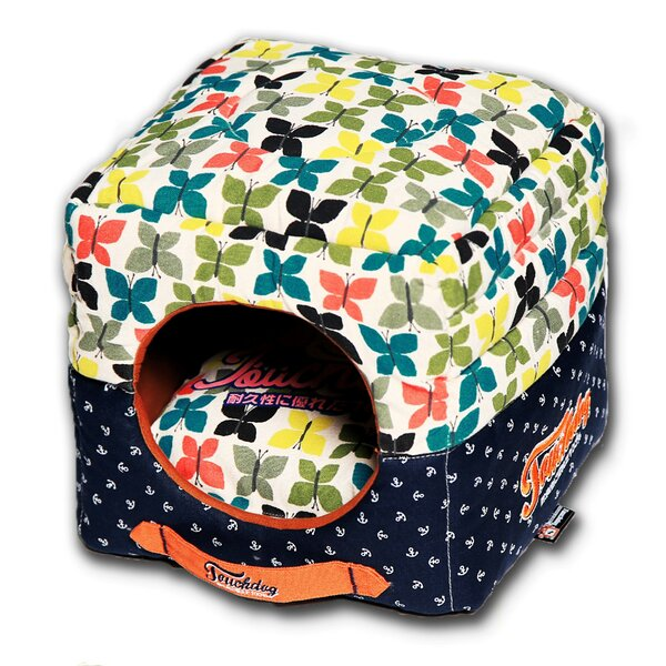 Butterfly Convertible and Reversible Squared 2-in-1 Collapsible Dog House Bed by Pet Life