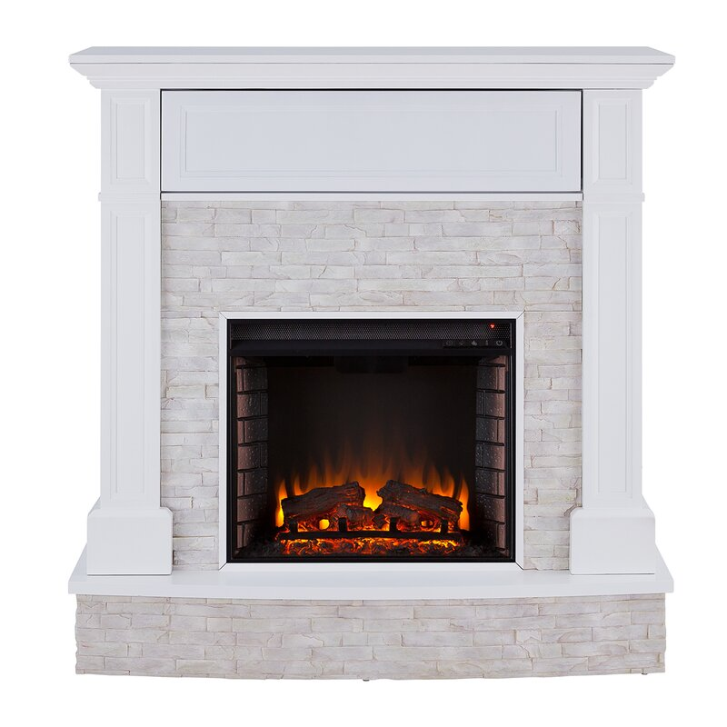 White/Rustic White Shanley Electric Fireplace by Darby Home Co