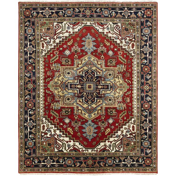 Marshallton Hand Knotted Wool Red/Black Area Rug by Astoria Grand