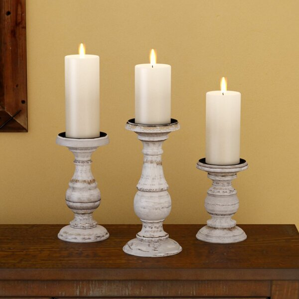 3 Piece Wooden Candlestick Set by Laurel Foundry Modern Farmhouse