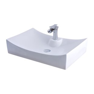 Reviews Ceramic Rectangular Vessel Bathroom Sink with Faucet By Novatto