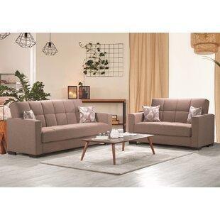 Cornett Living Room Set, Sofa-Loveseat, Beige by Latitude Run®