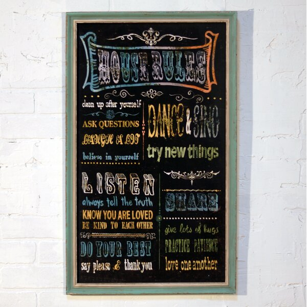 House Rules Wood Sign Framed Textual Art by Byron Anthony Home