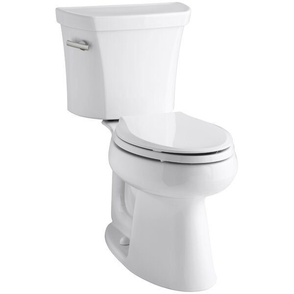 Highline Comfort Height Two-Piece Elongated 1.6 GPF Toilet with Class Five Flush Technology and Left-Hand Trip Lever by Kohler