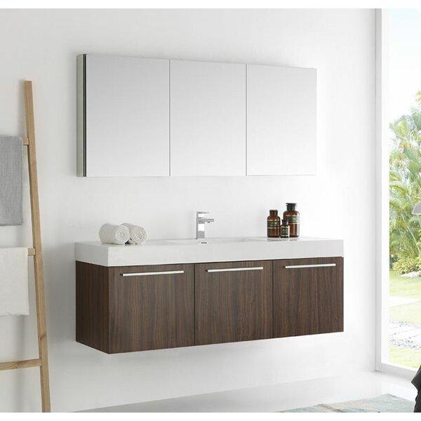 Senza 60 Vista Single Wall Mounted Modern Bathroom Vanity Set with Mirror by Fresca
