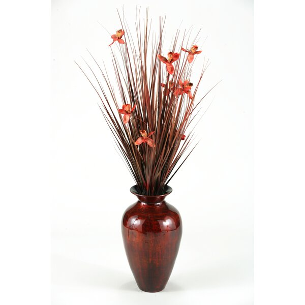 Brown Ting with Burgundy Blossoms in Burnt Copper Spun Bamboo Vase by D & W Silks