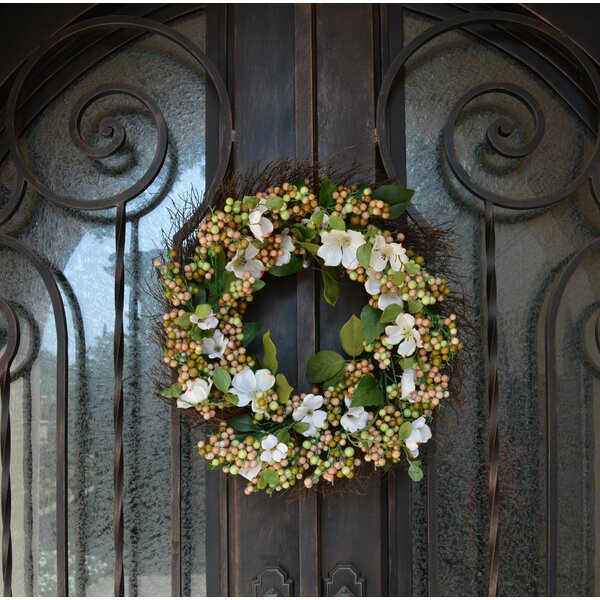 24 Dogwood and Berry Wreath by August Grove