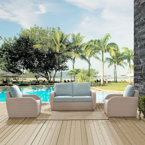 Kinsey 3 Piece Sofa Seating Group with Cushions by Highland Dunes