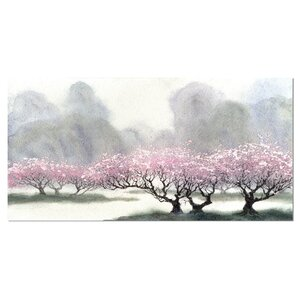 Flowering Trees at Spring Landscape Painting Print on Wrapped Canvas by Design Art