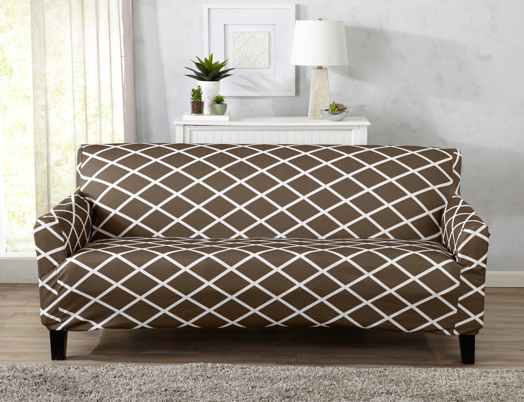 Beau Winston Porter Form Fitting Stretch Diamond Printed Sofa Slipcover U0026  Reviews | Wayfair