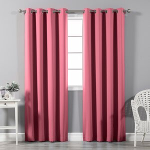 Schaeffer Solid Blackout Thermal Grommet Curtain Panels (Set of 2)