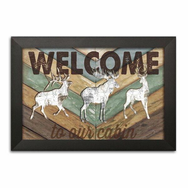 Whitetail Buck Doe Deer Cabin Lake 5 Panel Canvas Print Wall Art Poster Decor