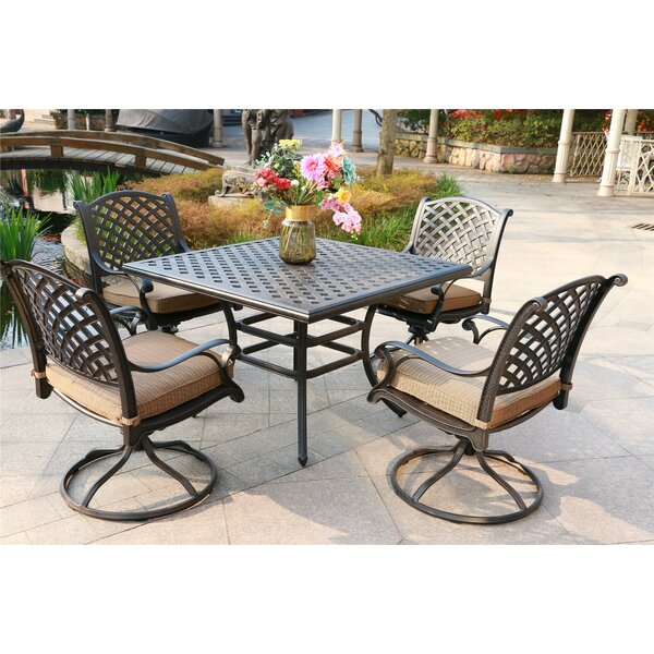 Scoggin Aluminum 5 Piece Dining Set with Cushions by Canora Grey
