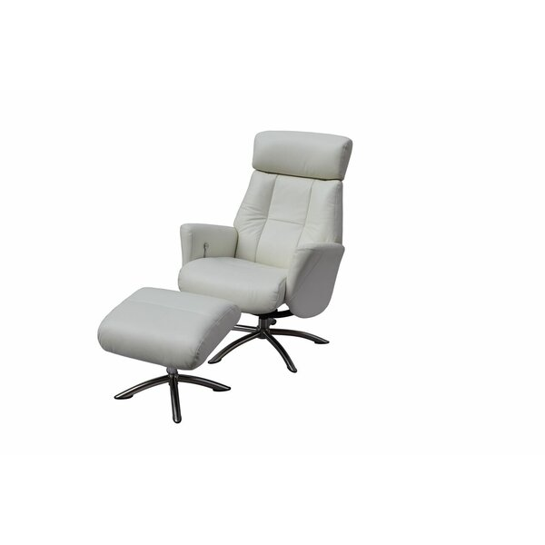 Mcclanahan Leather Manual Recliner with Ottoman by Orren Ellis