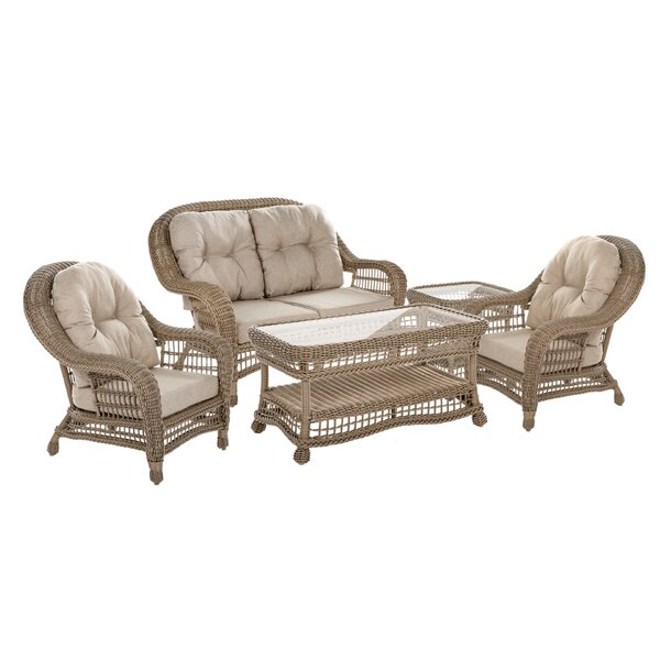 Habersham Garden Patio 5 Piece Sofa Seating Group with Cushions by August Grove