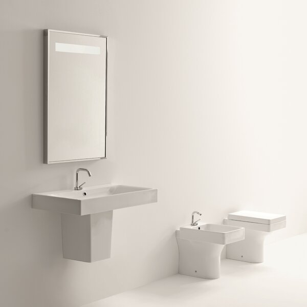 Cento Ceramic 24 Semi Pedestal Bathroom Sink with Faucet and Overflow