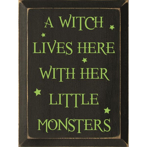 A Witch Lives Here With Her Little Monsters Textual Art Plaque by Sawdust City