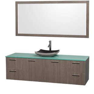 Compare prices Amare 72 Single Gray Oak Bathroom Vanity Set with Mirror ByWyndham Collection