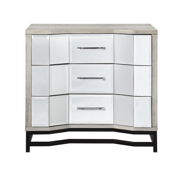 Wes 3 Drawer Mirrored Accent Chest By Everly Quinn