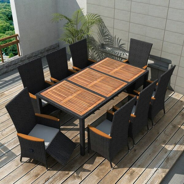 Tidworth Outdoor 9 Piece Dining Set with Cushions by Ivy Bronx