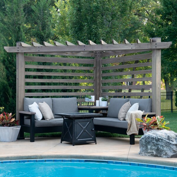 Catalina Cabana Pergola 4 Piece Sofa Seating Group with Sunbrella Cushions by Backyard Discovery