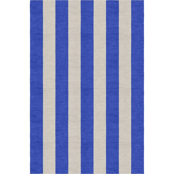 Claypool Stripe Hand-Woven Wool Silver/Blue Area Rug by Rosecliff Heights
