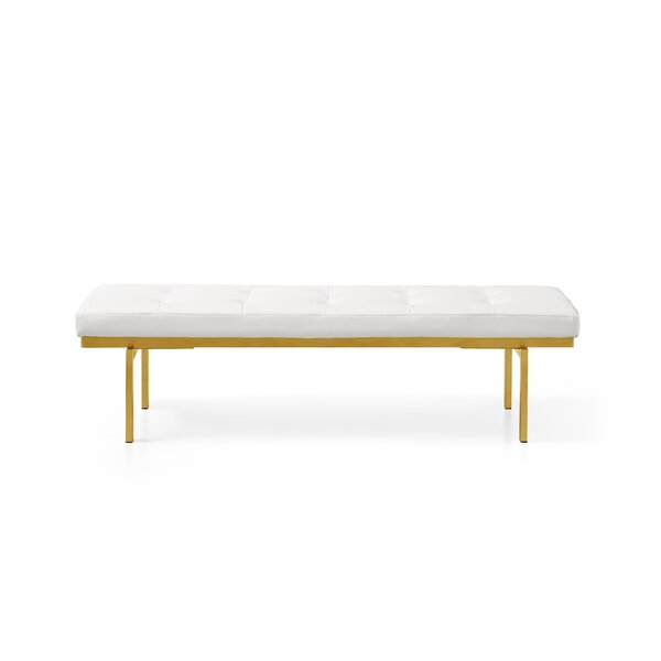 Lawncrest Upholstered Bench By Everly Quinn New